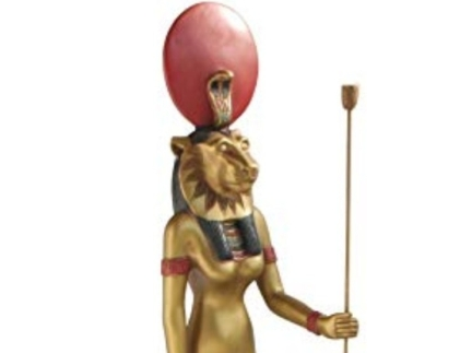 Sekmet with orange sacral disc above head